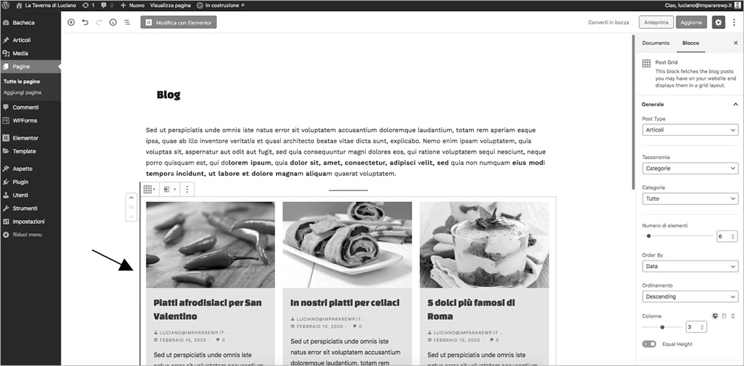 Le pagine con WordPress